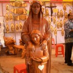beautiful wood statue of st anne